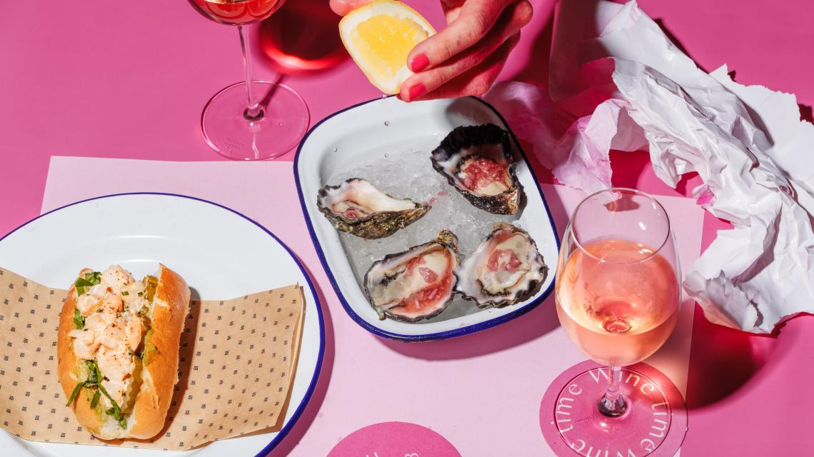 Pink OClock House Bar Offering oysters & rose